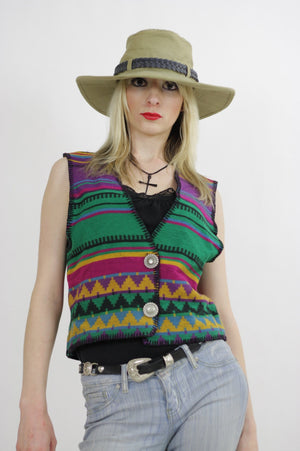 Vintage woven ethnic vest gypsy top Southwestern Boho striped sleeveless Hippie top rainbow vest Tribal print  Small  Medium UB422 - shabbybabe  - 1