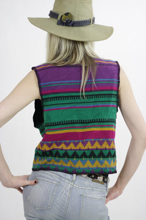 Vintage woven ethnic vest gypsy top Southwestern Boho striped sleeveless Hippie top rainbow vest Tribal print  Small  Medium UB422 - shabbybabe  - 5