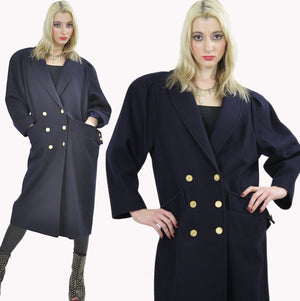 80s military Double breasted Coat Jacket  metal button wool Maxi retro M L - shabbybabe  - 3