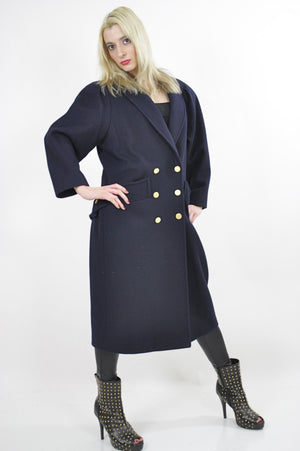 80s military Double breasted Coat Jacket  metal button wool Maxi retro M L - shabbybabe  - 2