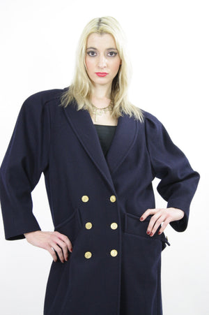 80s military Double breasted Coat Jacket  metal button wool Maxi retro M L - shabbybabe  - 1