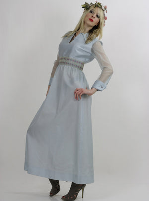 Sheer pastel blue boho maxi dress high waist goddess - shabbybabe  - 3