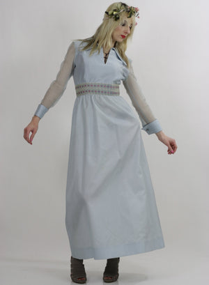 Sheer pastel blue boho maxi dress high waist goddess - shabbybabe  - 1