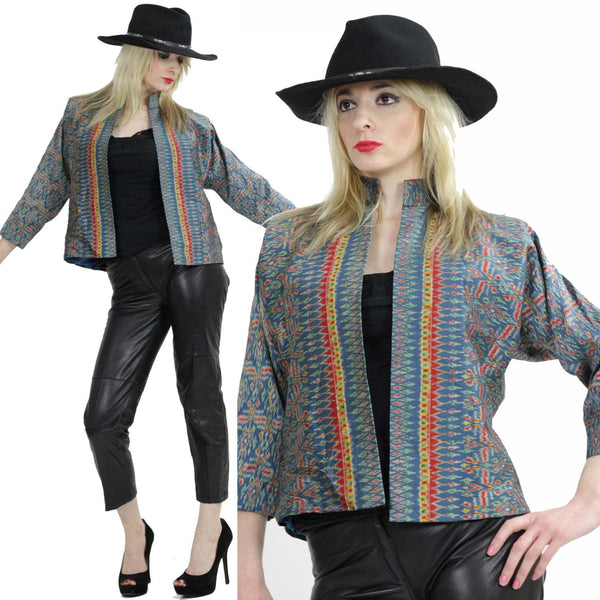 Striped jacket Boho cropped Southwestern coat  silk crop top Tribal ethnic print Western Bohemian Nehru high collar open front  M Medium - shabbybabe  - 1