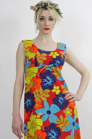 Tropical dress Boho Hippie 1970s neon floral maxi Festival sleeveless Sundress Empire Waist Medium - shabbybabe  - 1