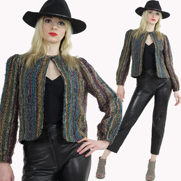 Vintage 80s Boho Hippie Tribal Ethnic Wool Jacket Blazer striped Multicolor Abstract Print UB493 - shabbybabe  - 1
