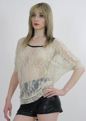 Boho hippie sheer  lace top 90s Grunge Romantic cream blouse - shabbybabe  - 1
