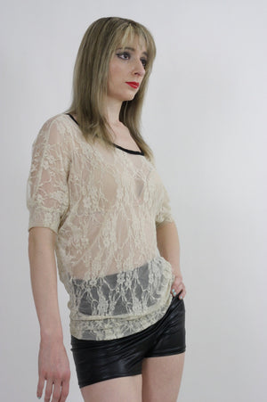 Boho hippie sheer  lace top 90s Grunge Romantic cream blouse - shabbybabe  - 3