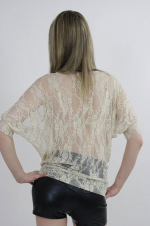 Boho hippie sheer  lace top 90s Grunge Romantic cream blouse - shabbybabe  - 5