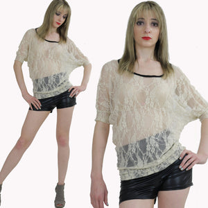 Boho hippie sheer  lace top 90s Grunge Romantic cream blouse - shabbybabe  - 2