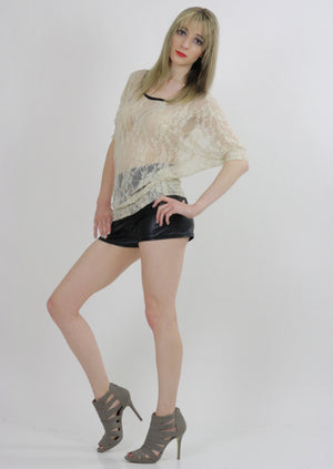 Boho hippie sheer  lace top 90s Grunge Romantic cream blouse - shabbybabe  - 4