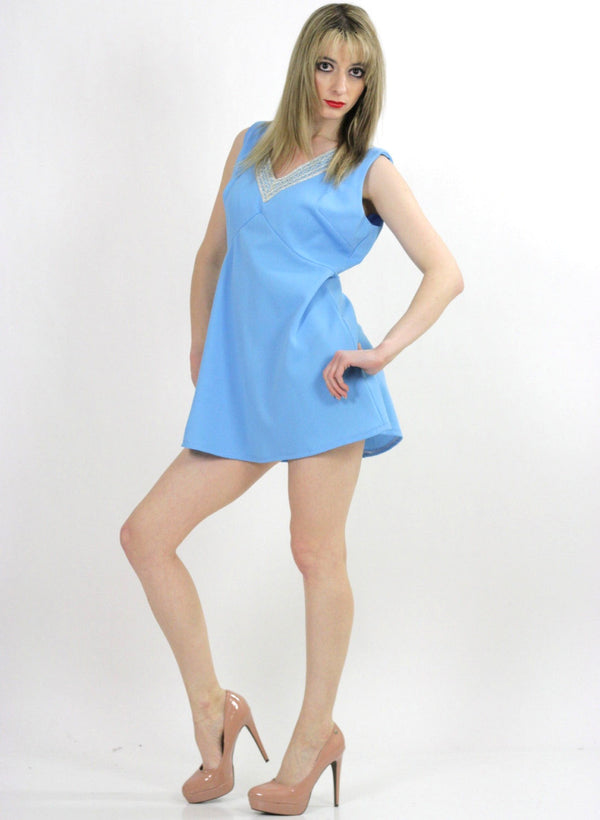 Blue beaded mod party mini dress - shabbybabe  - 1