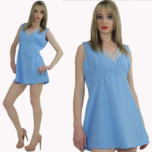 Blue beaded mod party mini dress - shabbybabe  - 2