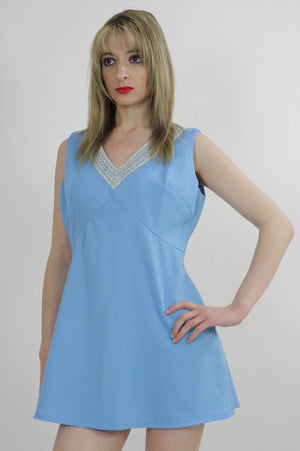 Blue beaded mod party mini dress - shabbybabe  - 4