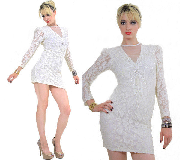 07a27d890d6f Lace Bandage mini Dress Sheer white Lace dress Bodycon dress Vintage 90s  long sleeve open back