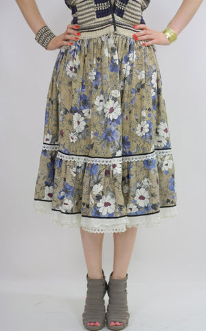 70s Boho Hippie tiered floral skirt - shabbybabe  - 3