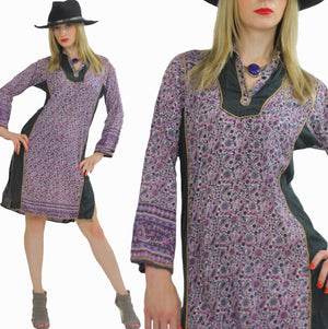 Hippie dress Paisley India color block Festival  Vintage 1970s Purple Paisley Boho Gypsy side slit mini dress Small Medium - shabbybabe  - 1
