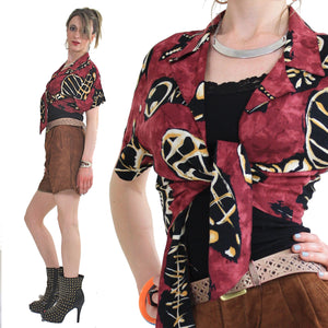 70s boho tie front abstract tribal print crop top shirt - shabbybabe  - 2