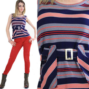 Mod top hippie top striped top flag tee shirt Boho tunic  boho top red white blue top hippie tunic  S Medium  SH240 - shabbybabe  - 1