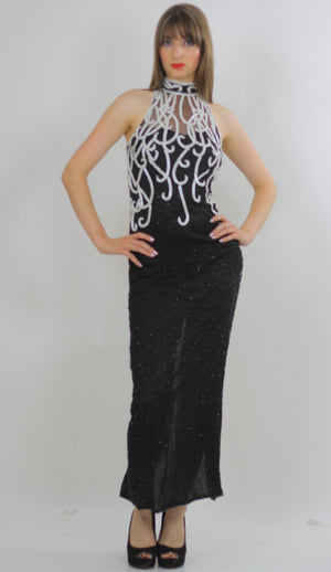 80s halter Gatsby deco sequin beaded maxi dress - shabbybabe  - 3