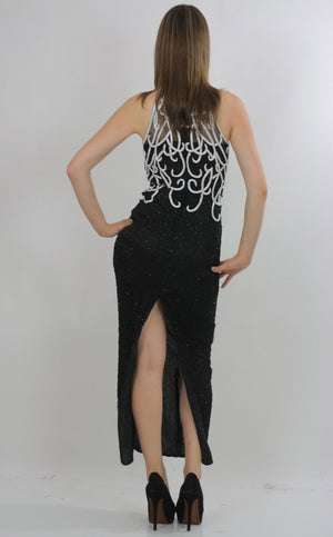 80s halter Gatsby deco sequin beaded maxi dress - shabbybabe  - 4