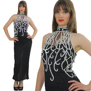 80s halter Gatsby deco sequin beaded maxi dress - shabbybabe  - 2