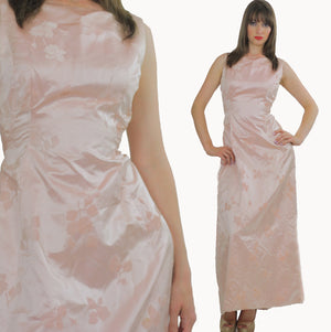 pink silk dress floral Party gown silk burnout mad men sleeveless long U neckline fitted Medium - shabbybabe  - 1