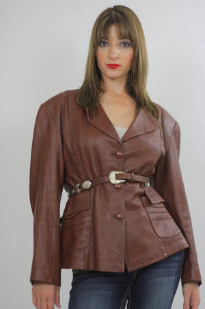 70s boho brown leather jacket blazer Top M - shabbybabe  - 3