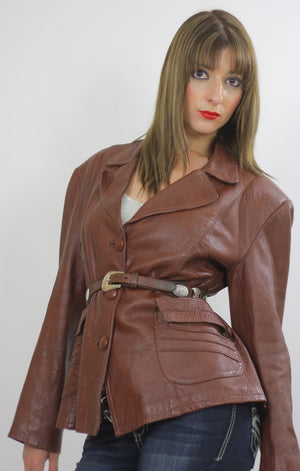 70s boho brown leather jacket blazer Top M - shabbybabe  - 1