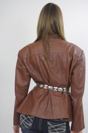 70s boho brown leather jacket blazer Top M - shabbybabe  - 5