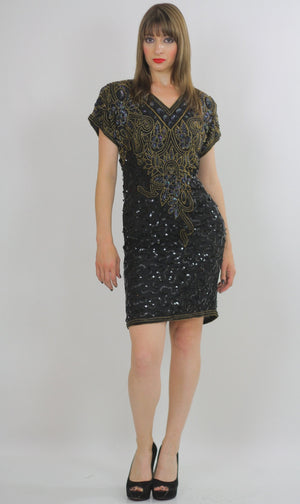 80s Deco Gatsby flapper party Sequin beaded dress - shabbybabe  - 3