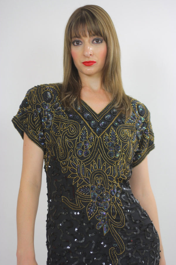 80s Deco Gatsby flapper party Sequin beaded dress - shabbybabe  - 1