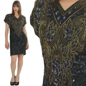 80s Deco Gatsby flapper party Sequin beaded dress - shabbybabe  - 2