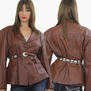 70s boho brown leather jacket blazer Top M - shabbybabe  - 2