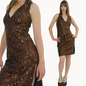 Vintage Metallic Sequin mini dress Deco Gatsby beaded dress Vintage Cocktail party Mini Dress halter dress party dress  M - shabbybabe  - 1