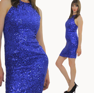 80s Deco Gatsby Cocktail Blue Sequin Beaded mini dress - shabbybabe  - 2