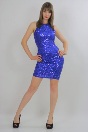80s Deco Gatsby Cocktail Blue Sequin Beaded mini dress - shabbybabe  - 3
