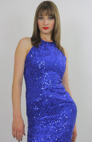 80s Deco Gatsby Cocktail Blue Sequin Beaded mini dress - shabbybabe  - 1