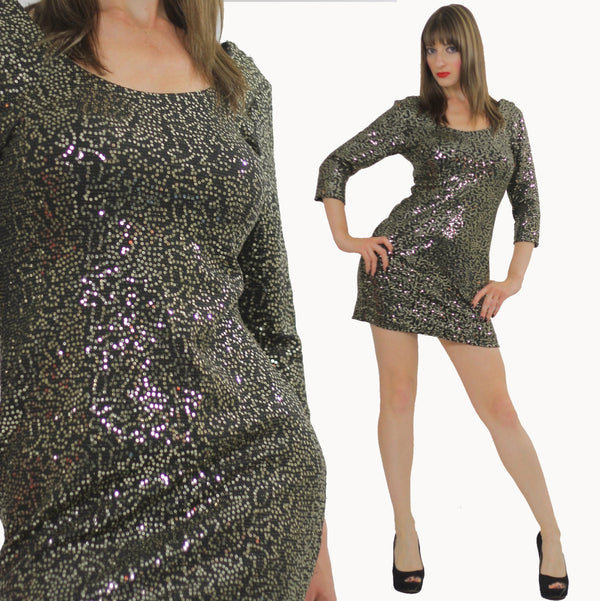 Sequin dress beaded mini gold metallic deco bandage body con Cocktail Party scoop neckline long sleeve wiggle Boho party mini dress mall - shabbybabe  - 1