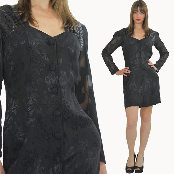 Vintage 80s sequin mini dress Black party mini dress sheer cocktail party dress long sleeve M - shabbybabe  - 1
