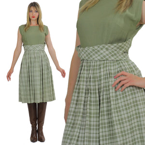 plaid dress green pleated Vintage  1970s dirndl gingham checkered high waisted sleeveless Festival Large - shabbybabe  - 1