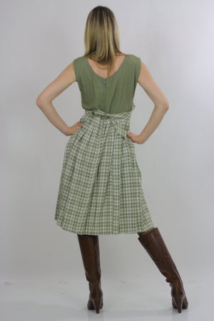 plaid dress green pleated Vintage  1970s dirndl gingham checkered high waisted sleeveless Festival Large - shabbybabe  - 3