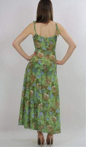 Green Boho Dress Vintage 1970s Maxi dress spaghetti strap Abstract Floral Party Festival Tropical sundress Small - shabbybabe  - 3