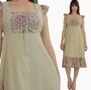 Vintage 70s  Hippie Floral Tiered ruffle lace up dress corset dress M - shabbybabe  - 1