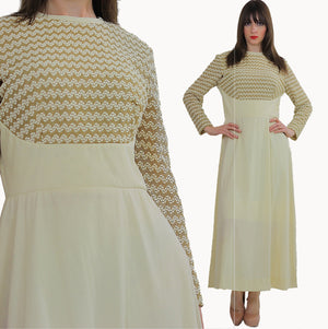 Vintage 70s Ivory cocktail party chevron stripe long sleeve dress S M - shabbybabe  - 1