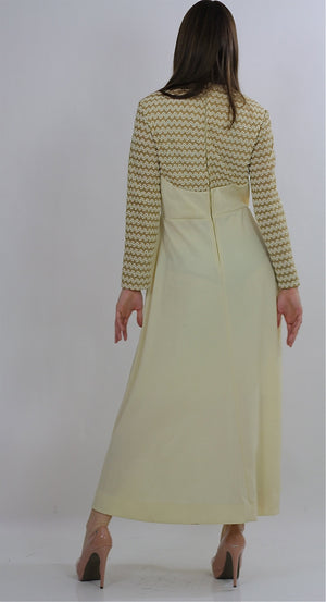 Vintage 70s Ivory cocktail party chevron stripe long sleeve dress S M - shabbybabe  - 3