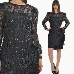 80s Gatsby Deco cocktail party Sequin Beaded dress - shabbybabe  - 2