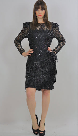 80s Gatsby Deco cocktail party Sequin Beaded dress - shabbybabe  - 3