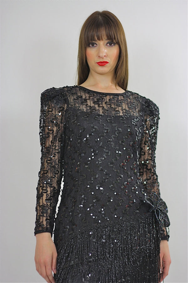 80s Gatsby Deco cocktail party Sequin Beaded dress - shabbybabe  - 1