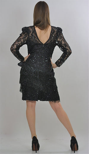 80s Gatsby Deco cocktail party Sequin Beaded dress - shabbybabe  - 4